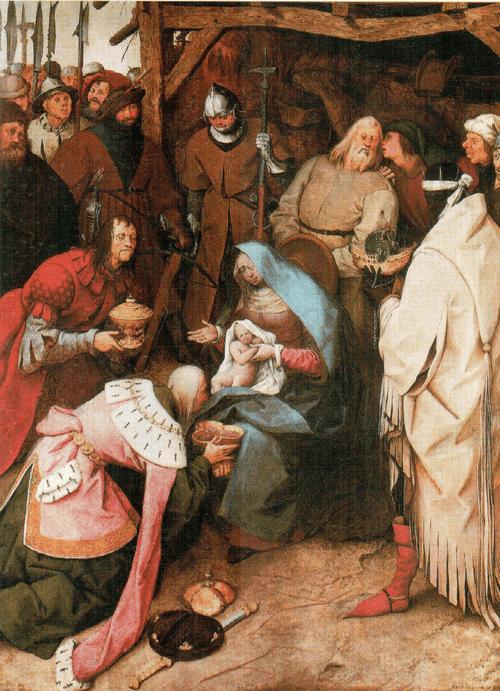 Поклонение волхвов, 1564 Брейгель изображает евангельскую сцену так, словно это ежегодная постановка к Рождеству Христа. В таком действе позволительно нашептывать что-то на ухо Иосифу, но с точки зрении канонов и догм, провозглашенных Контрреформацией, в картине на иконографическую тему это было недопустимо.