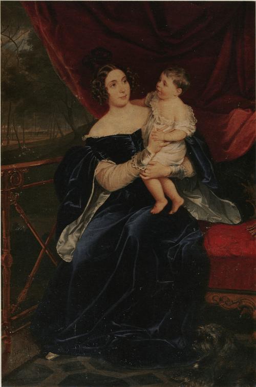 Портрет О. И. Орловой-Давыдовой с дочерью. 1834