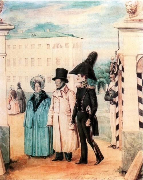 Прогулка. 1837 Акварель. Государственная Третьяковская галерея, Москва