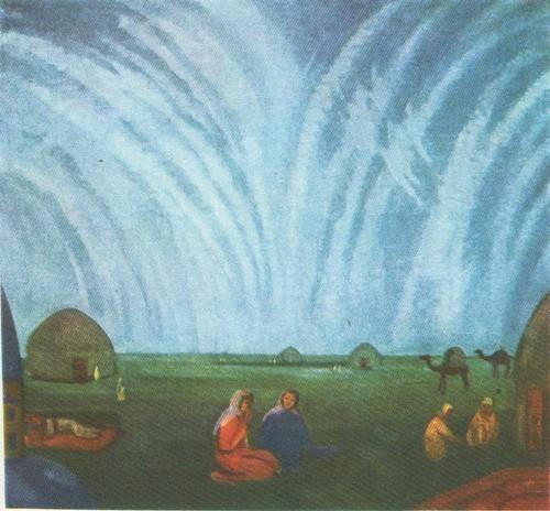 П. Кузнецов. Мираж в степи. Темпера. 1912.