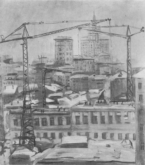 П. Кузнецов. Москва. Строительство школы. Масло. 1954.