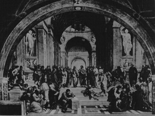 Рафаэль. Афинская школа. 1510—1511. Фреска одного из залов Ватиканского дворца в Риме.