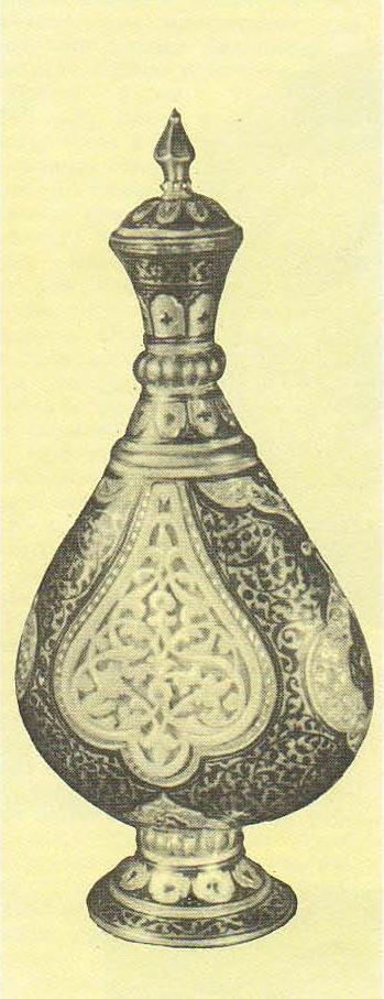 Р. Алиханов. Флакон. Серебро, чернь, гравировка, позолота, резьба по кости. 1959.