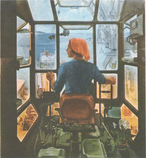 Р. Баранов (Куйбышев). С высоты портового крана. Масло. 1974.