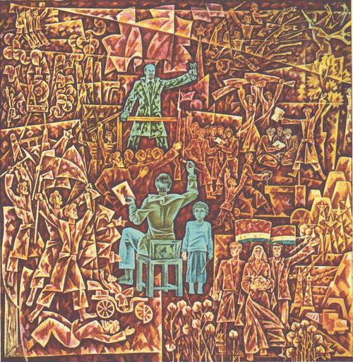 С. Курбанов. Ленин. Революция. Художники. Темпера. 1977.