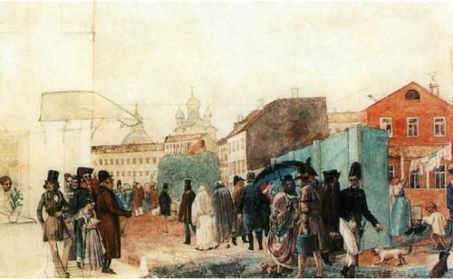 Уличная сцена в Москве во время дождя. 1837 Акварель. Государственная Третьяковская галерея, Москва