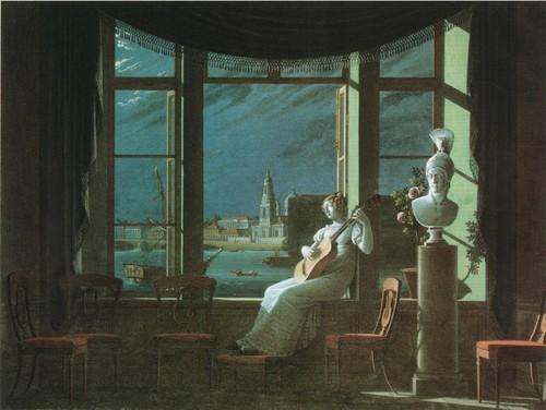 У окна в лунную ночь. 1822. Гуашь. Государст венная Третья ковская галерея , Москва