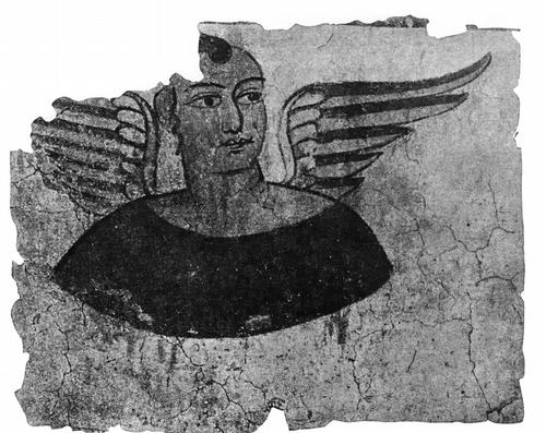Фрагмент росписи из Мирана. М. Ш. II. Мувей центрально-авиатских древностей в Ныо Дели