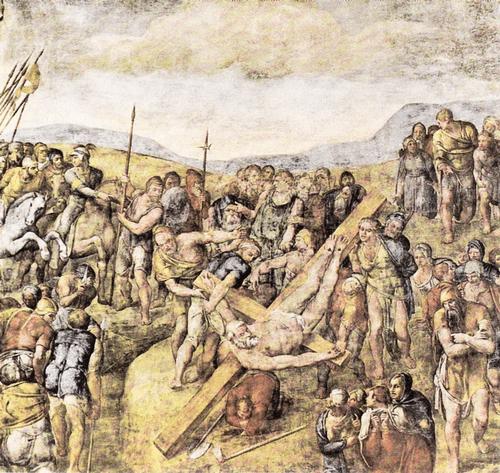 Фреска «Распятие Петра» в капелле Паолина. 1546—1550.