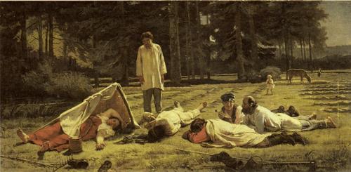 Ф. С. Журавлев. Отдых на сенокосе. 1887