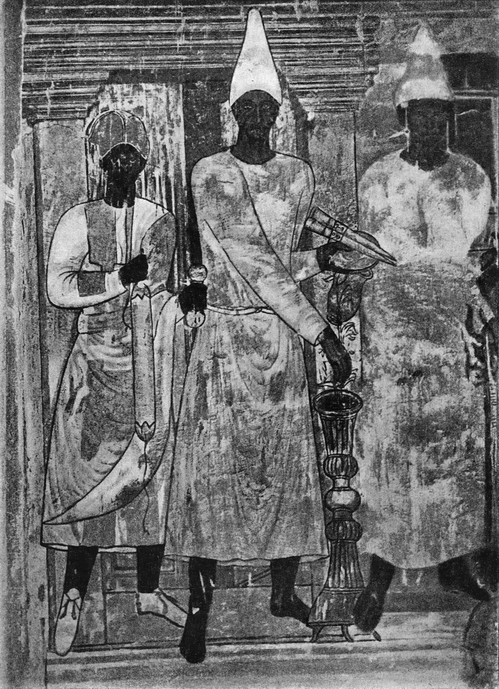Часть росписи храма пальмирских богов в Дура-Европос. (Вид стенописи до повреждения).