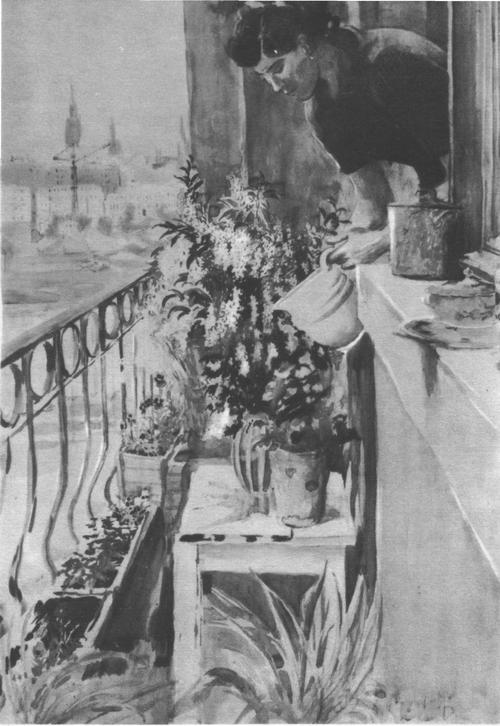 Ю. Пименов. Балкон. Масло. 1950-е годы.