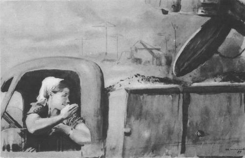 Ю. Пименов. Пойдем вечером в кино Масло. 1954.