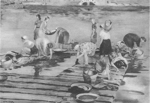 Ю. Пименов. Прачки. Масло. 1946.