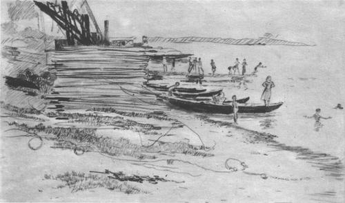Ю. Пименов. У берега. Карандаш. 1955.