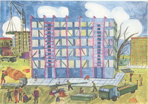 Ядвига Лиздените (12 лет). На стройке нового Вильнюса. Гуашь.