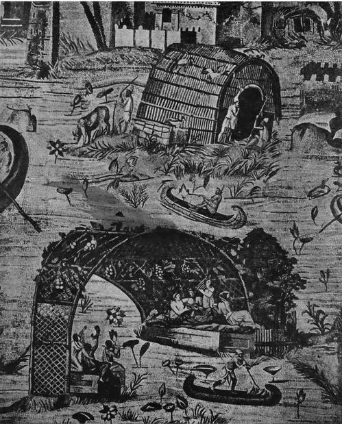 Мозаика из Палестины. Разлив Нила. Деталь. Сцена из сельской жизни египтян и сцена из жизни греко-римской части населения — пир.