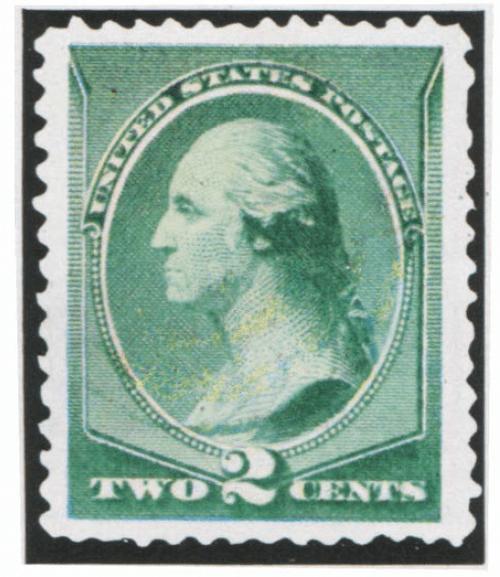США. 1887. № 64. 2 цента. Портрет Георга Вашингтона по скульптуре Гудона. Зеленая. Гравюра на стали. Зуб. 12.