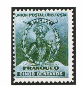 Перу. 1897. № 111. 5 сентаво. Портрет Франциско Писарро — завоевателя Перу. Зеленая. Глубокая печать. Зуб. 12.