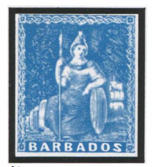 Барбадос. 1857. № 5. 1 пенни (беэ обозначения на марке номинала). Символическая фигура «Британия». Рис. У. Хэмфриза. Синяя. Гравюра на меди. Без зубцов.