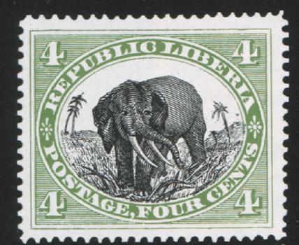Либерия. 1892. № 28. 4 цента. Слон. Зеленая и черная. Глубокая печать. Одиночный водяной знак: «стилизованная роза». Зуб. 15.