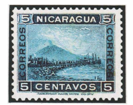 Никарагуа. 1900. № 125. 5 сентаво. Вулкан Момотомбо у озера Манагуа. Синяя. Гравюра на стали. Зуб. 12.