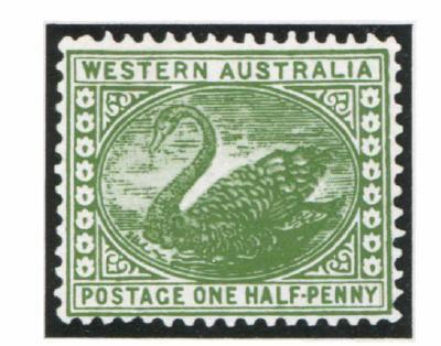 Западная Австралия. 1885. № 42. Ч2 пенни. Черный лебедь. Зеленая. Высокая печать. Одиночный водяной знак: «корона и буквы СА». Зуб. 14.