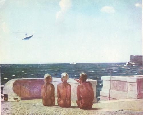 А. Дейнека. Будущие летчики. Масло. 1937.