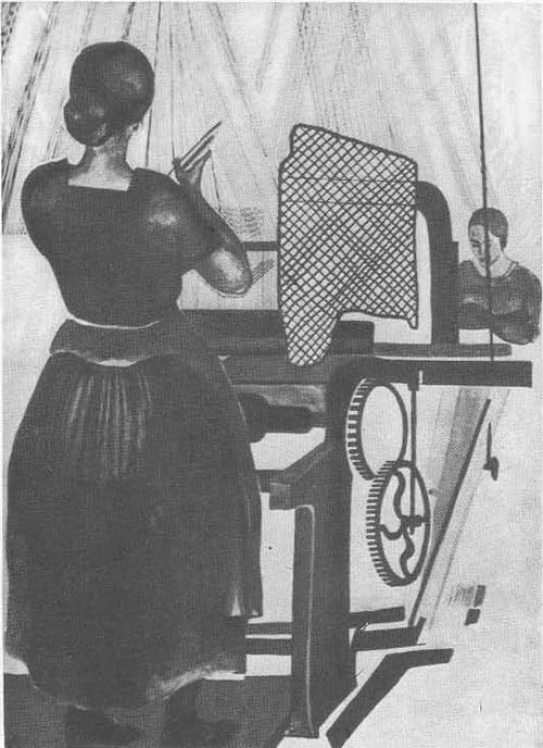 А. Дейнека. У ткацкого станка. Краснопресненская Трехгорная мануфактура. Тушь, гуашь.