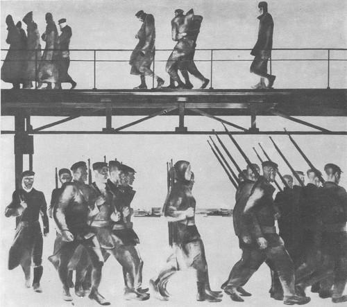 А. Дейнека. Оборона Петрограда. Масло. 1928.