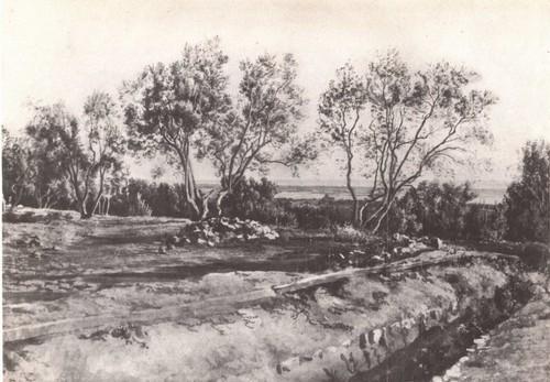 А. Иванов. Оливы у кладбища Субиако. Молодой месяц. Масло. 1843—1845