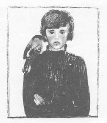 А. Пахомов. Портрет с птицей. Автолитография, акварель.