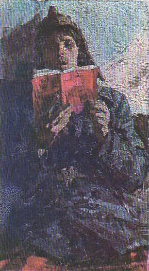Боец с красной книгой. Этюд. Масло. 1959.