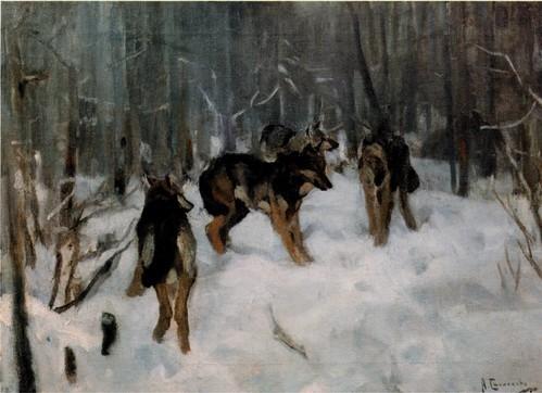 Волки в зимнем лесу. 1900-1910 Государственная Третьяковская галерея, Москва