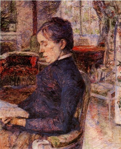 Время графини Во всех картинах, изображающих любимую мать, Тулуз- Лотрек показывает женщину, подчинившуюся несчастной судьбе, но не лишившуюся внутренней силы и достоинства. В этих композициях можно наблюдать каждодневную жизнь графини, начиная с раннего утра, когда она выпивала чашку чая (Мать художника за завтраком, 1 881-1 883, Альби, Музей Тулуз- Лотрека), затем она запечатлена задумавшейся в саду (Мать художника в саду, 1884, Сан-Паулу, Музей искусств).