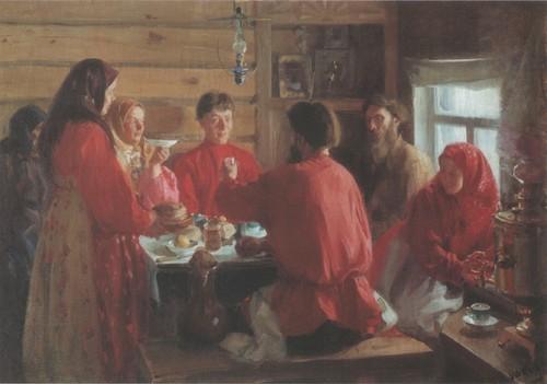 В крестьянской избе. 1902