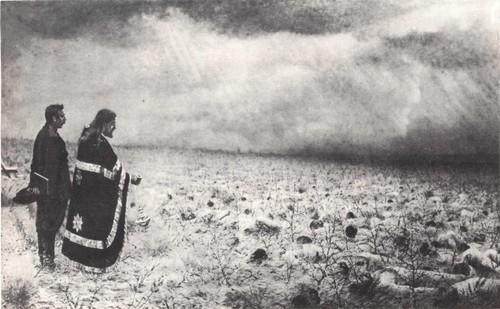 В. Верещагин. Побежденные. Панихида по убитым. Масло. 1877—1879.