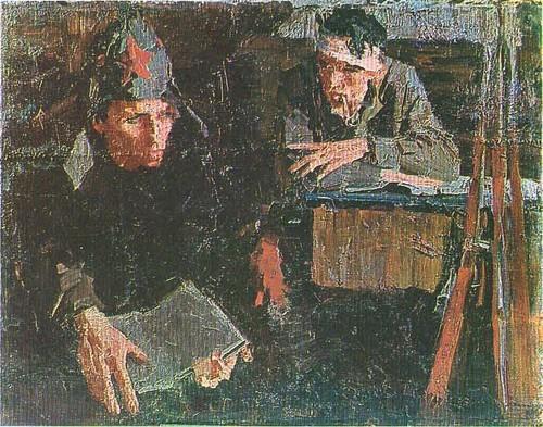 Два бойца за партой. Этюд. Масло. 1959.