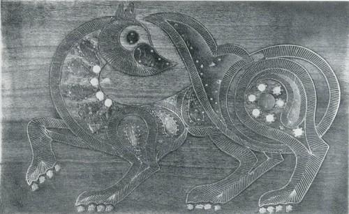 """Декоративное панно ,,3верь"""". Абрикосовое дерево, насечка мельхиором, кость. Мастер М. Казимаго- медов. Аварцы, с. Унцукуль. 1969"""