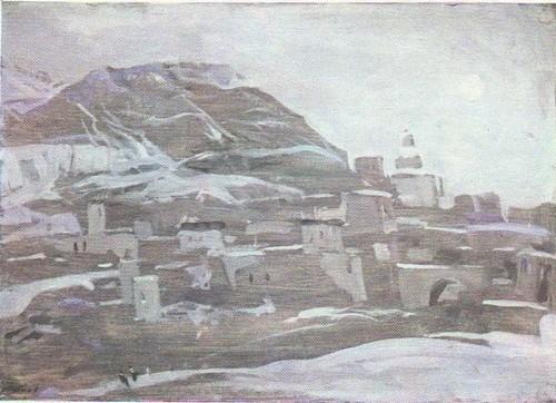 А. Дубинчик. Дагестан. Аул Ахты. Масло. 1971.