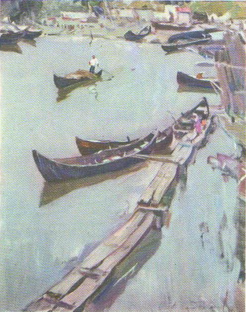 А. Дубинчик. В рыболовецком на Дунае. Масло. 1963