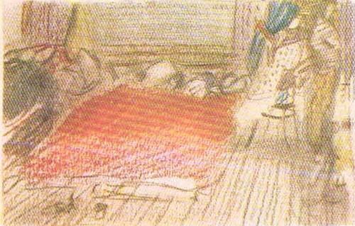 Д. Мочальский. Эскиз картины «Первое утро (Гостеприимство)». Цв. карандаши.