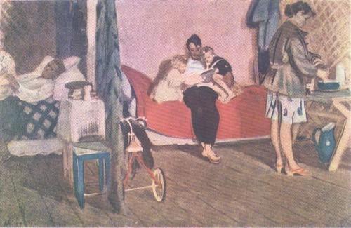 Д. Мочальский. Новоселы. Масло. 1957.