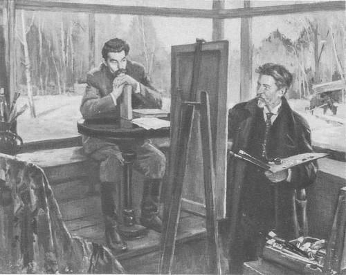 Д. Налбандян. А. М. Горький и И. Е. Репин в «Пенатах». Масло. 1975.