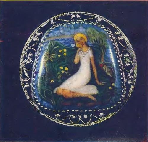 Е. Сулимов. Брошь. Эмаль, скань. 1976.