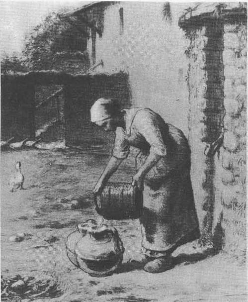 Ж.-Ф. Милле.Женщина у колодца. Пастель, черный карандаш. 1866—1868.