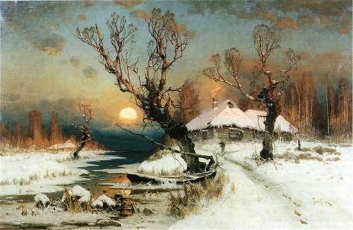 Закат солнца зимой. 1887 Клевер Донецкий областной художественный музей
