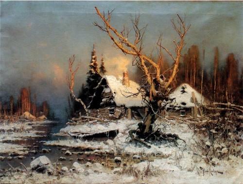 Зимний пейзаж с избушкой. 1897