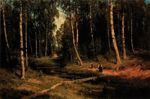 Ручей в березовом лесу . 1883