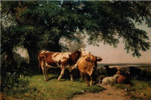 Стадо под деревьями. 1864